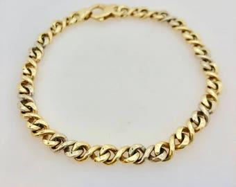 "14K Gold Two Tone Infinity Link Bracelet 8.25"""