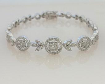 "NEW 14-karat White Gold Diamond Bracelet, Circle Link Eternity Bracelet, Bridal Bracelet Length 7"""