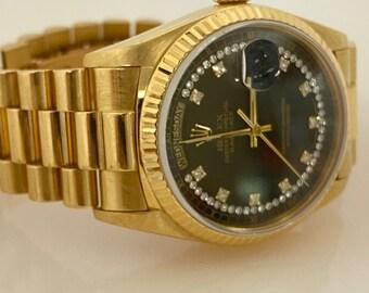 VINTAGE Rolex President Day-Date 18K Yellow Gold Bark Diamond Dial Men's Watch 8385