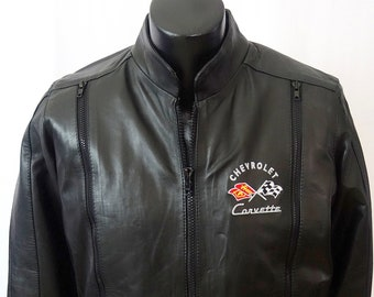 50'S-70's C1 Corvette Leather Embroidered Jacket  S New W/Tags