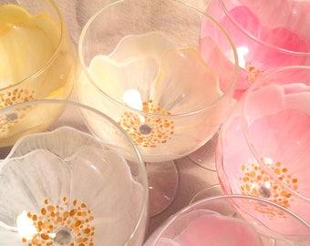 6 glasses - Tender wild ROSES flowers style Shabby C.Kim