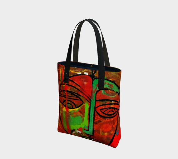 66a68575b7 African Mask tote