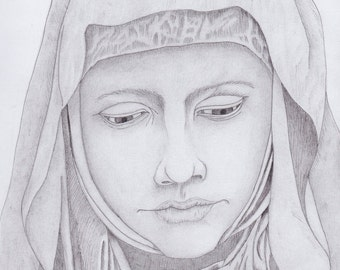 Virgin Mary drawing with pencil and ink