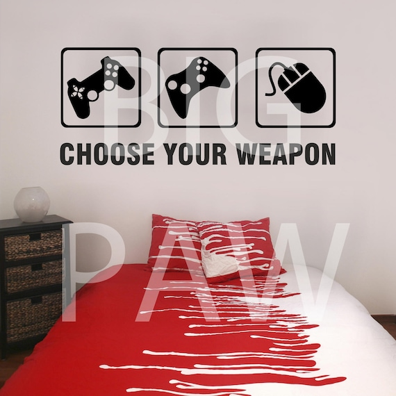 choose your weapon gamers vinyl wall art sticker decal gaming | etsy