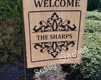 Personalized Burlap Flag, Personalized Garden Flag, Personalized Yard Flag,  Mothers Day Gifts, Wedding Gifts, Burlap Flags, Welcome Signs