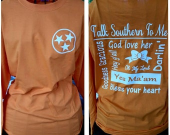 Long sleeve tee, southern, printed tee, preppy shirt, gifts for her, T-shirt,  ladies apperal