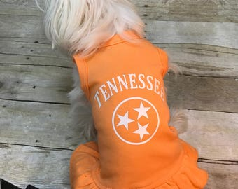 Tennessee dog dress, dog dress, school spirit  dog dress, tri star dog dress, TN dog dress, orange dog dress