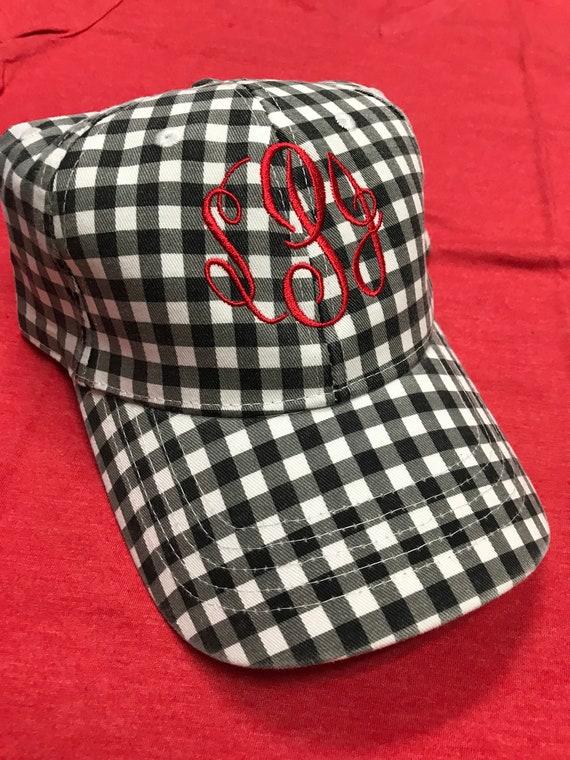 2846b439135 Baseball hat monogrammed baseball hat Black and white