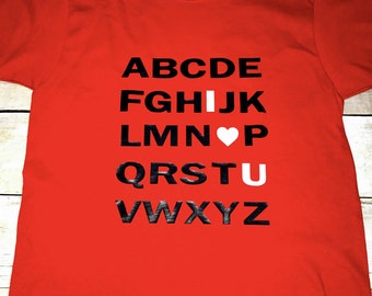 Kids shirt, kids valentines day shirt, I love you shirt, ABC shirt, valentines day kids shirt, valentines day gifts for kids, childrens tee