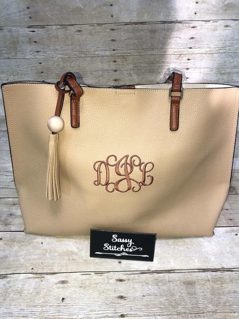 Large tote bag tote bag monogrammed tote bag large image 0