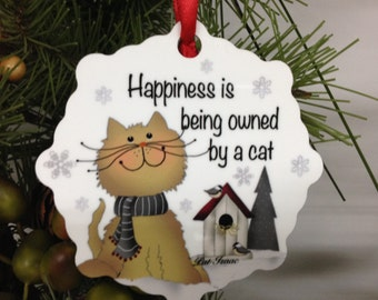 Cat Ornament, Cat Snowflake, Aluminum Snowflake Ornament, Happiness with a Cat, Stocking Stuffer, Gifts Under 10, Cat Bed Ornament