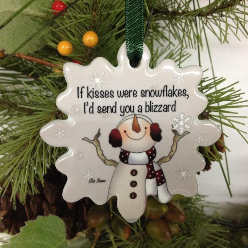 Porcelain Kiss Ornament Love you Ornament Gift under 15 Stocking Stuffer Christmas Ornament Love /& Kiss Ornament Personalize Ornament