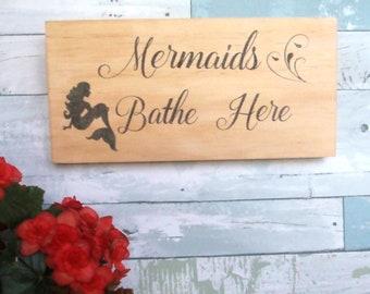 Mermaid sign - Beach bathroom sign -  Rustic bathroom sign - Mermaid decor - Coastal home decor - Beach decor - Housewarming gift