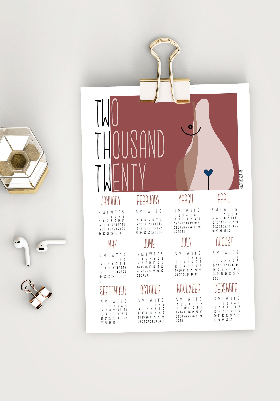 Wall Calendar 2020 Printed Calendar Female Art Printed Etsy