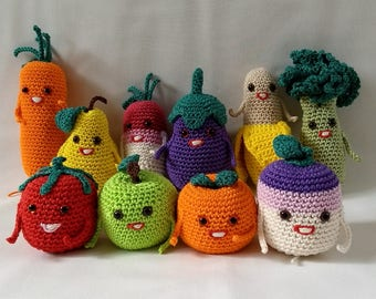 Set of crochet fruits and vegetables