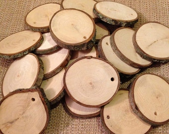 """50 Drilled wood slices - 1.5"""" to 2."""" rustic wood slices - Each slice with drilled hole"""
