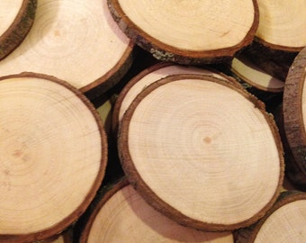 """50 Wood slices - 2 to 2.5"""" rustic wood slices"""