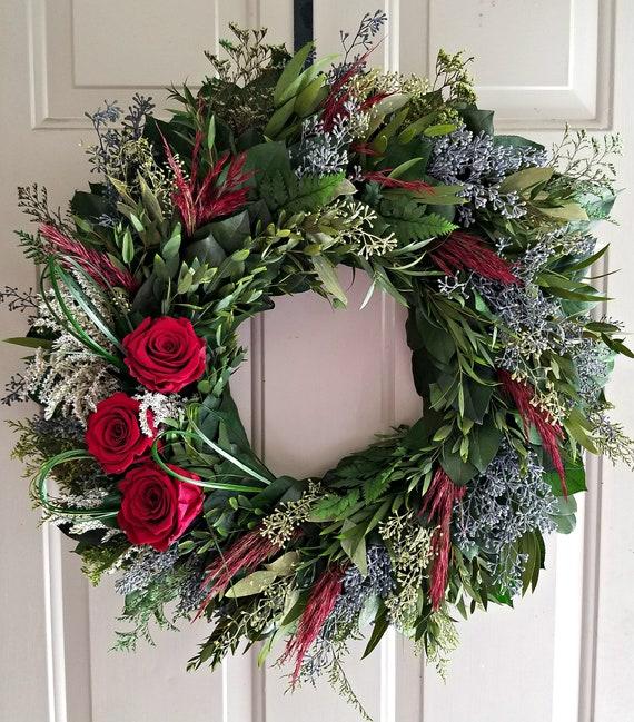 23 inch preserved burgundy rose wreath, wedding wreath, natural wreath, leaf wreath, preserved wreath, indoor wreath