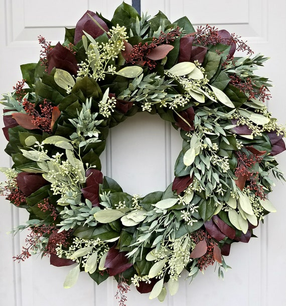 Preserved eucalyptus wreath made with preserved seeded eucalyptus and preserved salal leaves