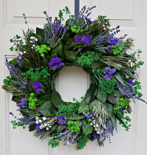 Purple lavender wreath is made with preserved salal leaves