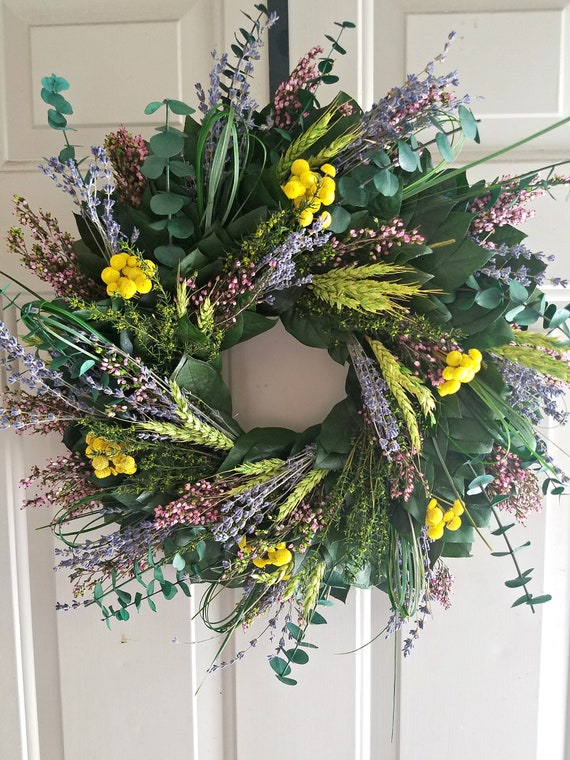 yellow dried flower wreath made with all natural preserved and dried materials