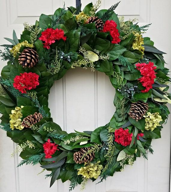 23 inch preserved Christmas wreath, xmas wreath, pinecone wreath, holiday wreath, gift, door wreath, preserved wreath, wreath, doorhanger