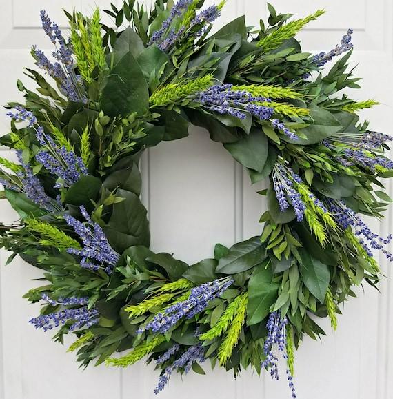 Lavender wreath, fall wreath, custom wreath, dried lavender wreath, leaf wreath, preserved wreath, decorative wreath, fragrant wreath