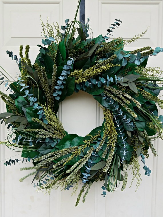 Eucalyptus wreath, farmhouse wreath, natural wreath, dried wreath, foliage wreath, leaf wreath, preserved wreath