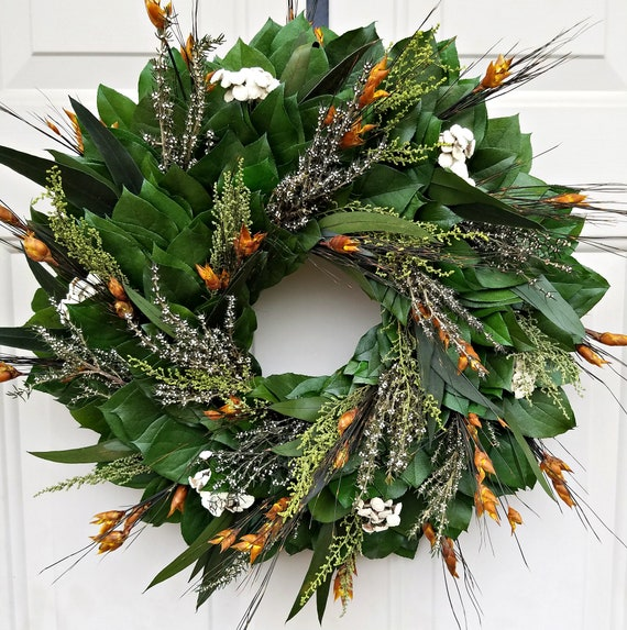 Dried flower wreath handmade with real preserved foliage