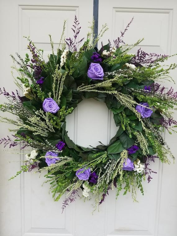 Purple wreath, rose wreath, gift wreath, leaf wreath, eucalyptus wreath,  preserved wreath, dried wreath