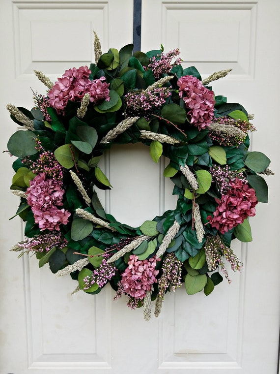 Hydrangea wreath made with preserved materials perfect for year round beauty