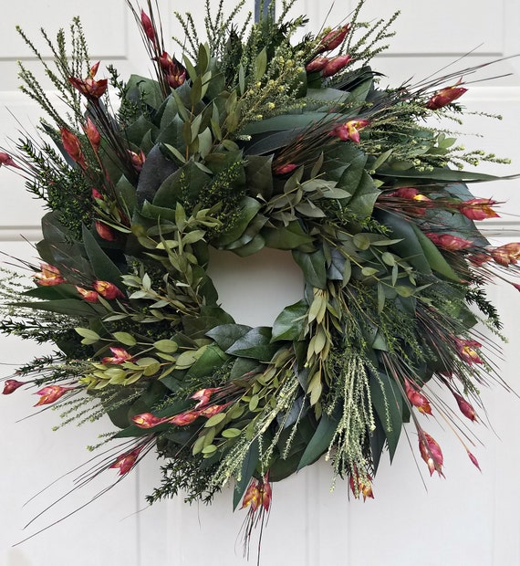 Preserved fall wreath, autumn wreath, eucalyptus wreath, leaf wreath, foliage wreath, gift wreath, natural wreath
