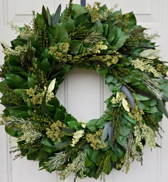 Leaf wreath, greenery wreath, door wreath, home decor, housewarming wreath, farmhousewreath, preserved wreath