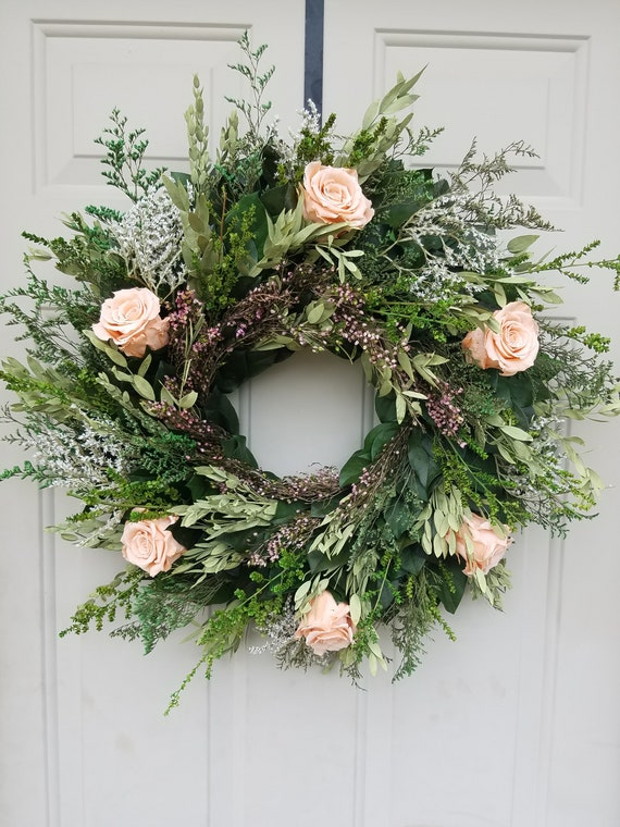 Reserved listing  Wreath with peach preserved roses,