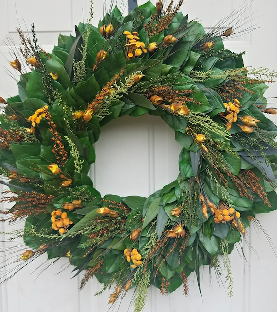 30 inch preserved fall wreath, autumn wreath, leaf wreath, orange wreath, hydrangea wreath, foliage wreath, gift wreath