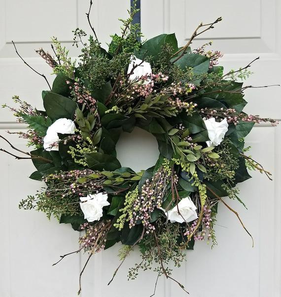 Wreath with white preserved roses, wreath, natural wreath, foliage wreath bridal wreath, summer wreath, wedding wreath