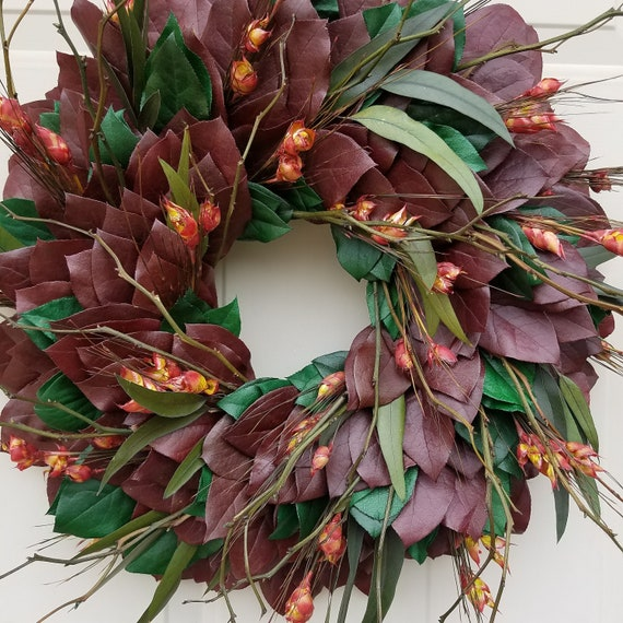 Leaf wreath, home and living, wreath and door hanger, farmhouse wreath, leaf wreath, indoor wreath, eucalyptus wreath, natural wreath
