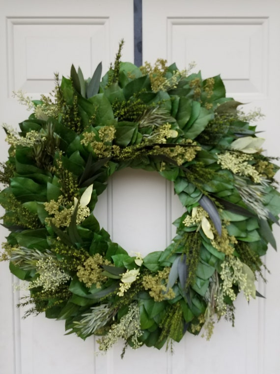 Farmhouse wreath made with preserved foliage