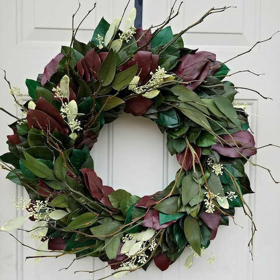 Eucalyptus wreath, leaf wreath, burgundy wreath, rustic wreath, farmhouse wreath, preserved wreath, door wreath