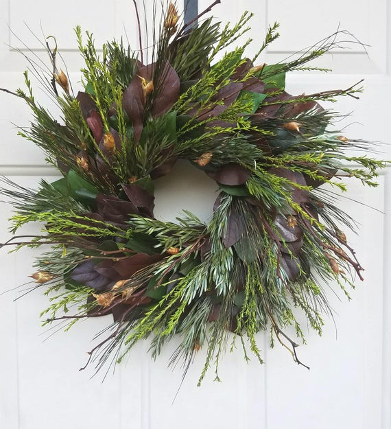 eucalyptus wreath, burgundy leaf wreath, housewarming burgundy wreath, front door wreath, handmade wreath, foliage wreath