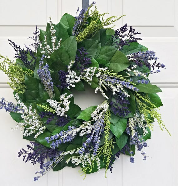 """Lavender wreath, 15"""" wreath, dried lavender wreath,  wreath, leaf wreath, preserved wreath, decorative wreath, fragrant wreath"""
