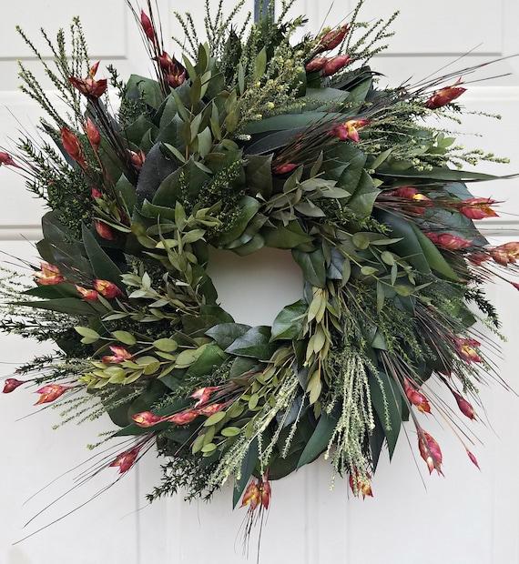 Preserved fall wreath, 24 inch wreath,  Autumn wreath,  eucalyptus wreath, leaf wreath, foliage wreath, gift wreath, natural wreath
