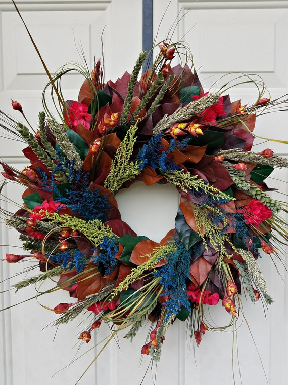 Fall wreath made with all natural dried and preserved materials