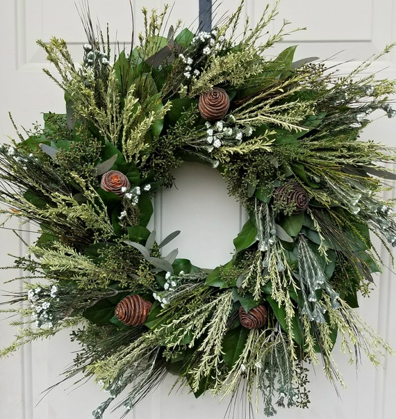 Preserved wreath, leaf wreath, endless blossoms, dried wreath, foliage wreath, wall hanger, home decor