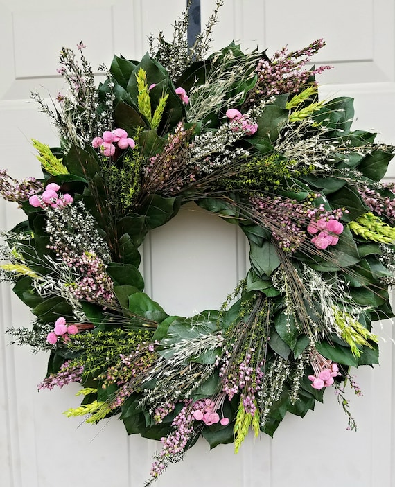 Spring wreath, 24 inch, pink button flower wreath, Mothers day gift, spring wreath pink wreath, girls room, baby shower,