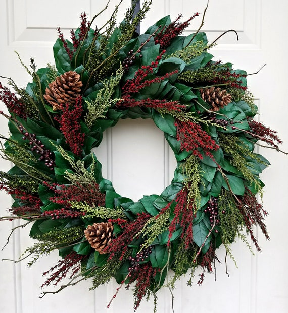 Holiday wreath made with preserved salal leaves
