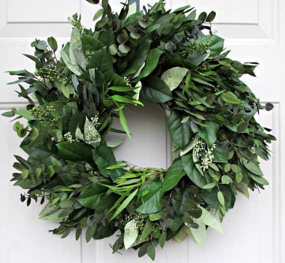 Preserved eucalyptus wreath, door hanger, seeded eucalyptus wreath, leaf wreath, preserved wreath, decorative wreath, decorative wreath
