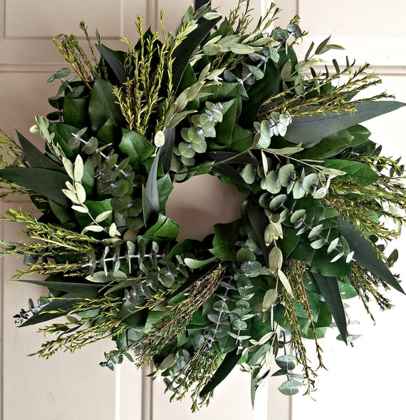 Preserved wreath, 23 inch custom wreath, small wreath, leaf wreath, large wreath, indoor wreath, eucalyptus wreath, natural wreath