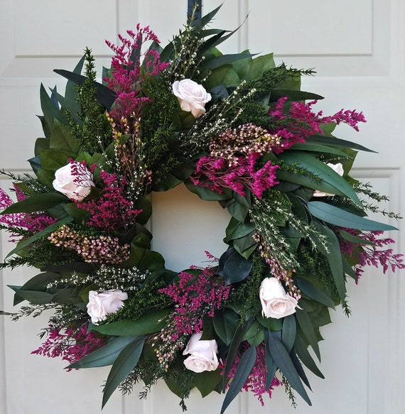Pink preserved rose wreath, foliage wreath, leaf wreath, gift wreath, indoor wreath, green wreath.  eucalyptus wreath, natural wreath