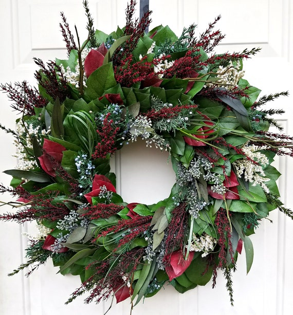 Large Christmas wreath, xmas wreath, holiday wreath, red wreath, hydrangea wreath, pinecone wreath